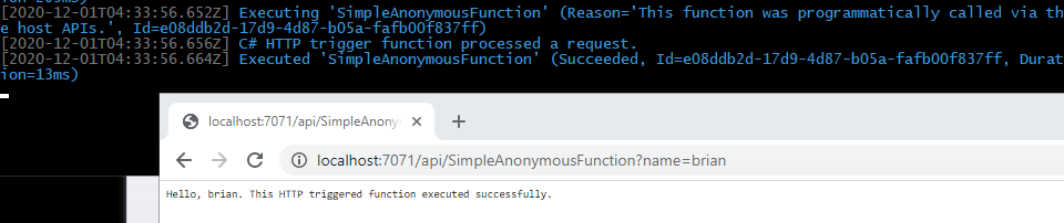 Executing the anonymous function