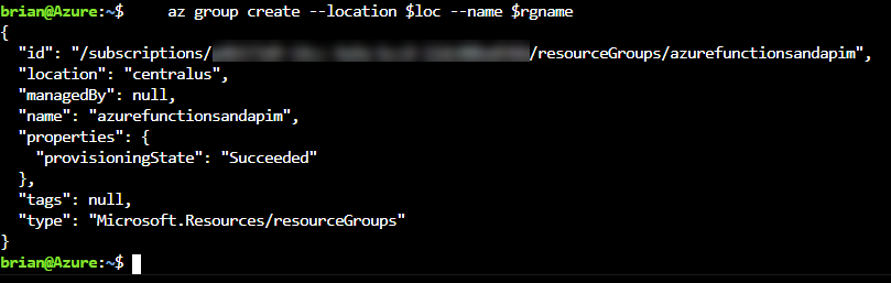 The resource group is created