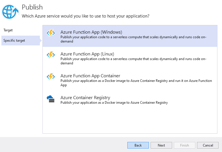 Select Azure Function App (Windows)