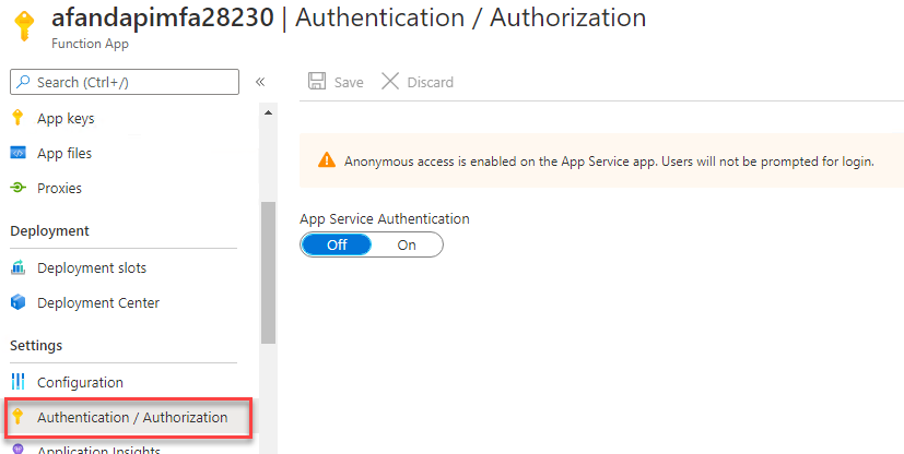 the Authentication / Authorization option is open for the function app