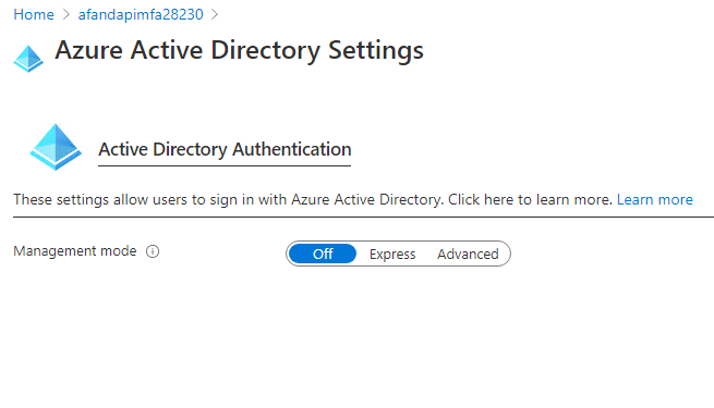 The Azure Active Directory settings window is open
