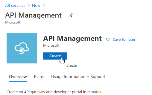 Start the process to create the new API Management